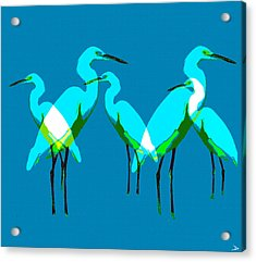 Acrylic Print featuring the painting Five Egrets by David Lee Thompson