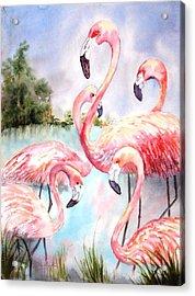 Five Flamingos Acrylic Print