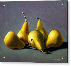 Five Golden Pears Acrylic Print
