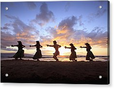 Five Hula Dancers At Sunset At The Beach At Palauea Acrylic Print