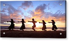 Five Hula Dancers At Sunset Acrylic Print by David Olsen
