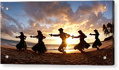 Five Hula Dancers On The Beach Acrylic Print