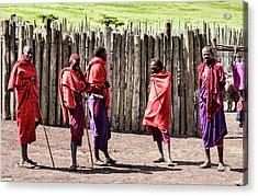 Five Maasai Warriors Acrylic Print