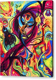 Acrylic Print featuring the painting Raven Masquerade by Marina Petro