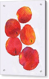 Five Nectarines  Acrylic Print by Andy  Mercer