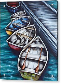 Five Rowboats Acrylic Print by Kristina Steinbring