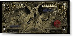 Acrylic Print featuring the digital art Five U.s. Dollar Bill - 1896 Educational Series In Gold On Black  by Serge Averbukh