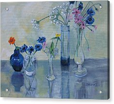 Five Vases Acrylic Print by Synnove Pettersen