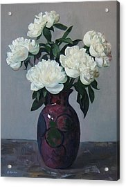 Five White Peonies In Purple Vase Acrylic Print