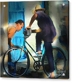 Fixing A Bike - Cuba Acrylic Print by Bob Salo