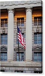 Flag And Column Acrylic Print by Greg Mimbs