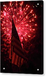 Flag And Fireworks Acrylic Print by Alan Look