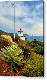 Acrylic Print featuring the photograph Flag At The Trinidad Memorial Lighthouse by James Eddy