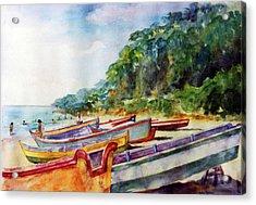 Flag Boat Crashboat Beach Acrylic Print by Estela Robles