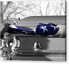 Flag For The Fallen - Selective Color Acrylic Print