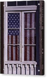 Flag In New Orleans Window Acrylic Print