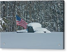 Flag In The Snow Acrylic Print by David Bishop