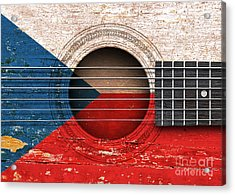 Flag Of Czech Republic On An Old Vintage Acoustic Guitar Acrylic Print