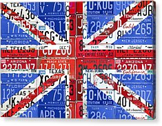 Flag Of United Kingdom Great Britain Union Jack From Recycled Vintage American License Plates Acrylic Print
