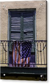 Flag On Wrought Iron Rail Acrylic Print by Garry Gay