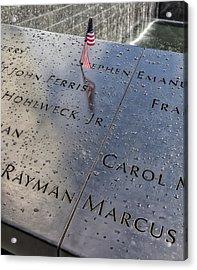 Flag World Trade Center Memorial July 4 2015 Acrylic Print by Robert Ullmann