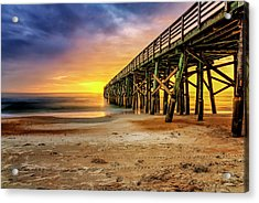 Flagler Beach Pier At Sunrise In Hdr Acrylic Print