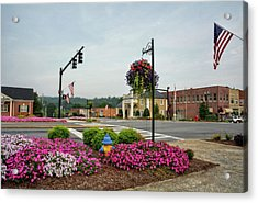 Flags And Flowers In Murphy North Carolina Acrylic Print by Greg Mimbs