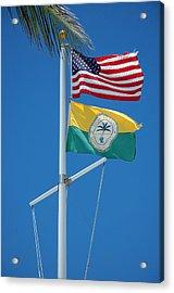 Flags At Beach Patrol Hq - Miami Acrylic Print