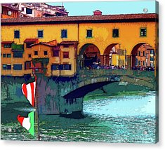 Flags At Ponte Vecchio Bridge Acrylic Print