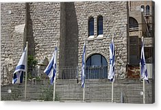 Acrylic Print featuring the photograph Flags At The Kotel by Julie Alison