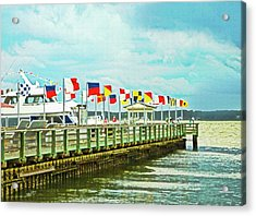 Flags At The Pier Acrylic Print