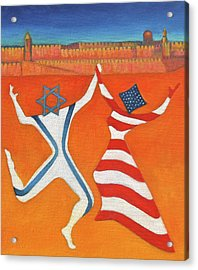 Flags Dancing With Israeli Man And American Woman       Acrylic Print by Jane  Simonson