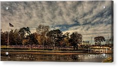 Acrylic Print featuring the photograph Flags In Deering Oaks Park by David Bishop