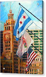 Flags Over Wrigley Acrylic Print by Michael Durst