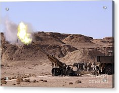 Flame And Smoke Emerge From The Muzzle Acrylic Print
