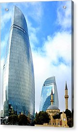 Acrylic Print featuring the photograph Flame Towers And Shahids Mosque by Fabrizio Troiani