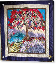 Flame Tree Quilted Wallhanging Acrylic Print by Sarah Hornsby