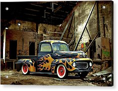 Flamed Pickup Acrylic Print by Steven Agius