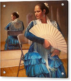 Acrylic Print featuring the painting Flamenco 1 by Donelli  DiMaria