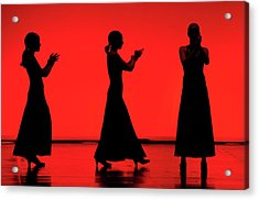 Acrylic Print featuring the photograph Flamenco Red An Black Spanish Passion For Dance And Rithm by Pedro Cardona