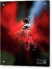 Flamenco Dancer In Red Acrylic Print