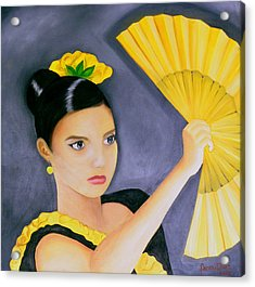 Flamenco Girl Acrylic Print by Fanny Diaz