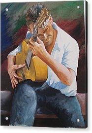 Flamenco Guitar Acrylic Print by Charles Hetenyi