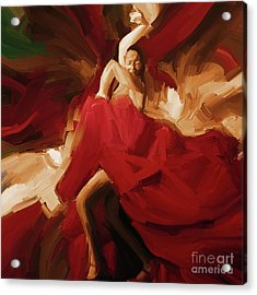 Acrylic Print featuring the painting Flamenco Spanish Dance Painting 01 by Gull G
