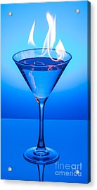 Flaming Blue Martini Acrylic Print