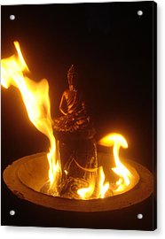 Flaming Buddha Acrylic Print by Steve Griffith