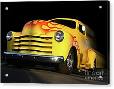 Flaming Chevy Acrylic Print by Tom Griffithe