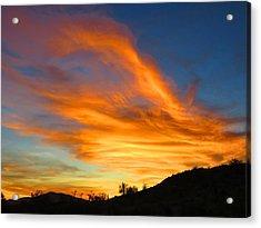 Flaming Hand Sunset Acrylic Print