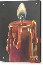 Acrylic Print featuring the painting Flaming Hot by Saundra Johnson