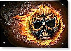 flaming skull Punk Gothic Biker Art Acrylic Print